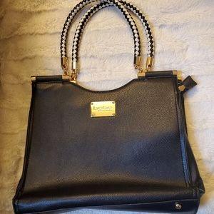 Bebe Black Leather Tote Handbag w/ Braided Handle